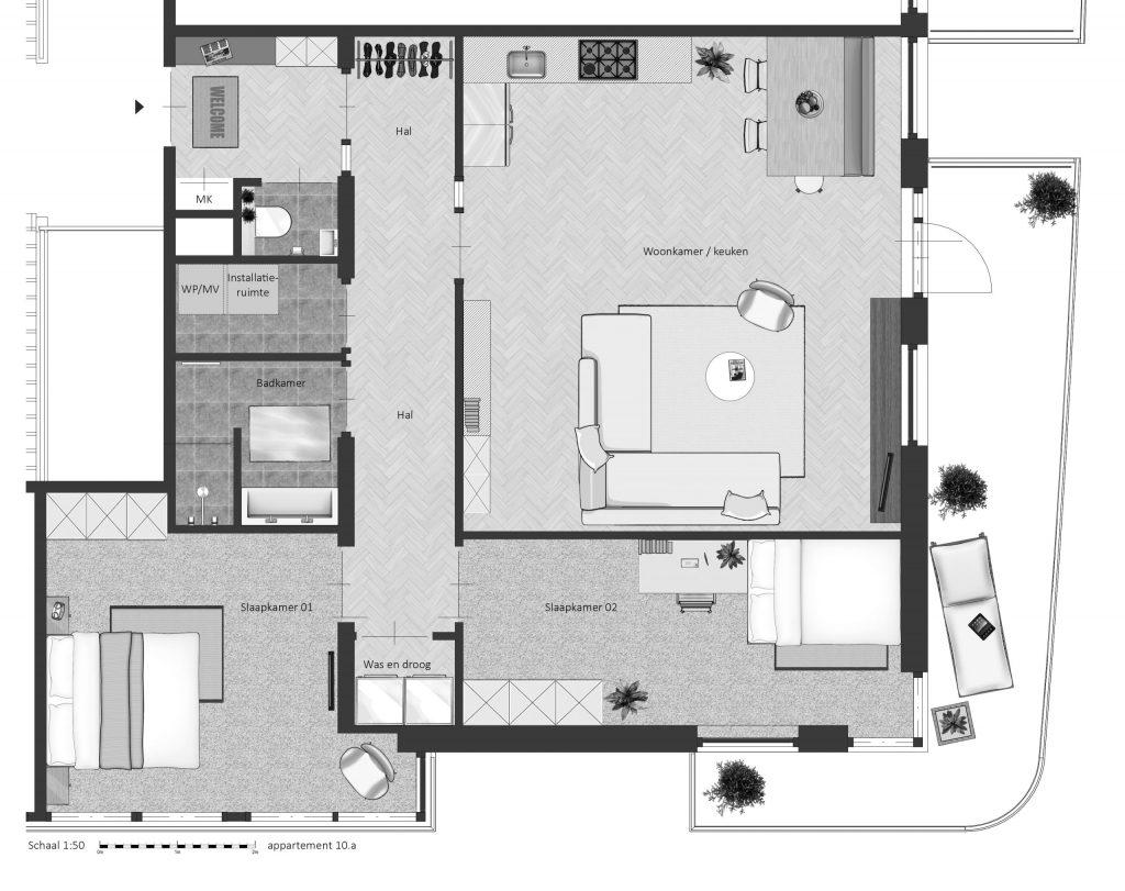 10A FABhouse Gouda plattegrond appartement 10a