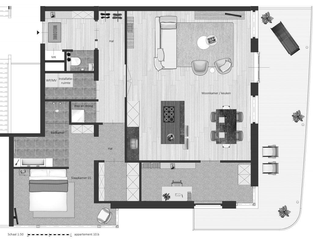 10B FABhouse Gouda plattegrond appartement 10b