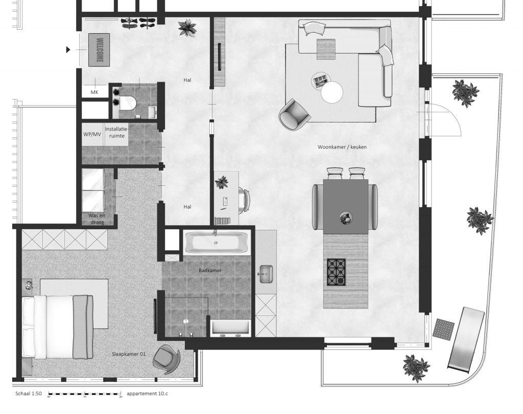 10C FABhouse Gouda plattegrond appartement 10c