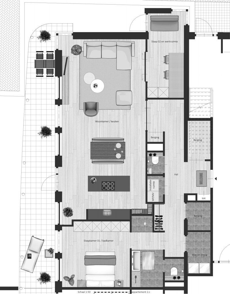 2C FABhouse Gouda plattegrond appartement 2c