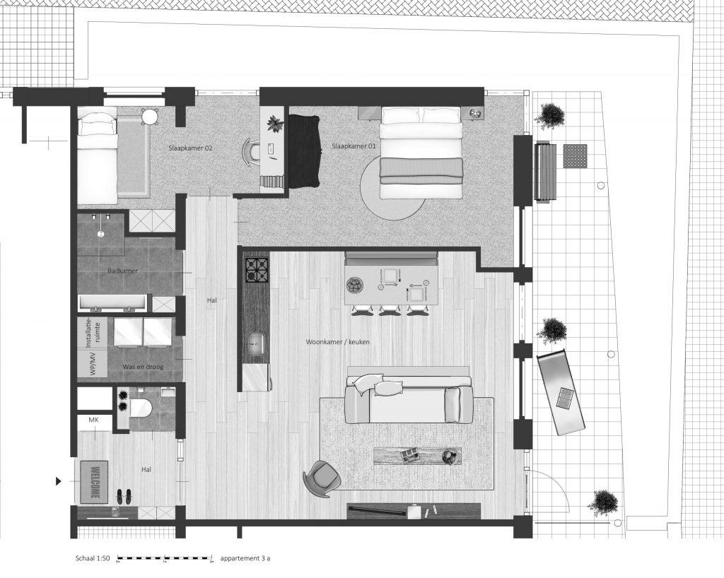 3A FABhouse Gouda plattegrond appartement 3a