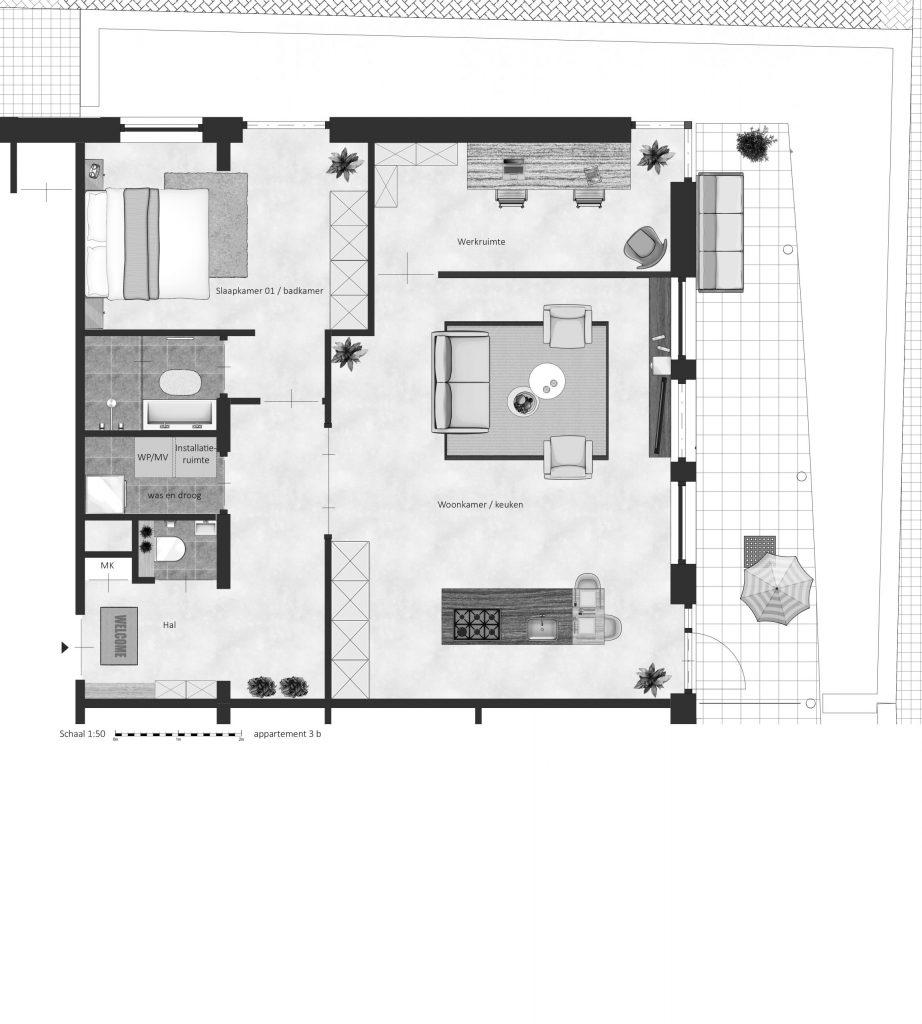 3B FABhouse Gouda plattegrond appartement 3b