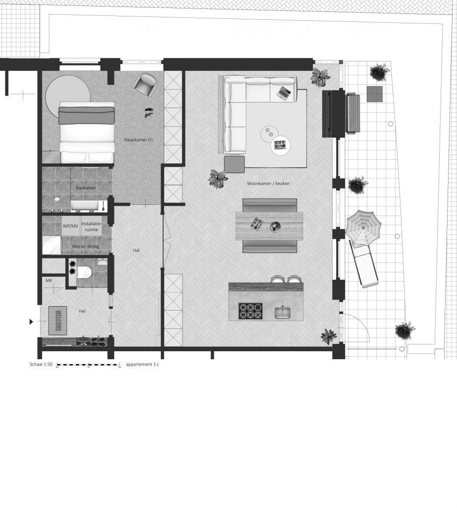 3C FABhouse Gouda plattegrond appartement 3c