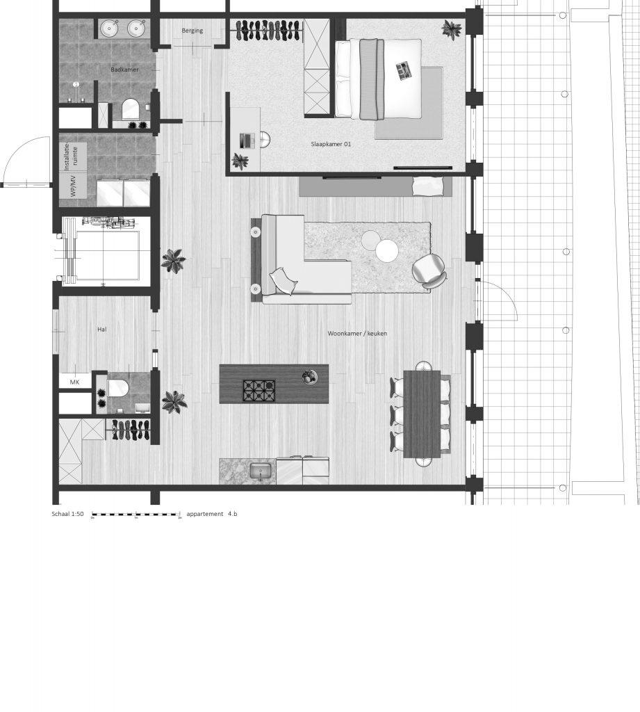 4B FABhouse Gouda plattegrond appartement 4b