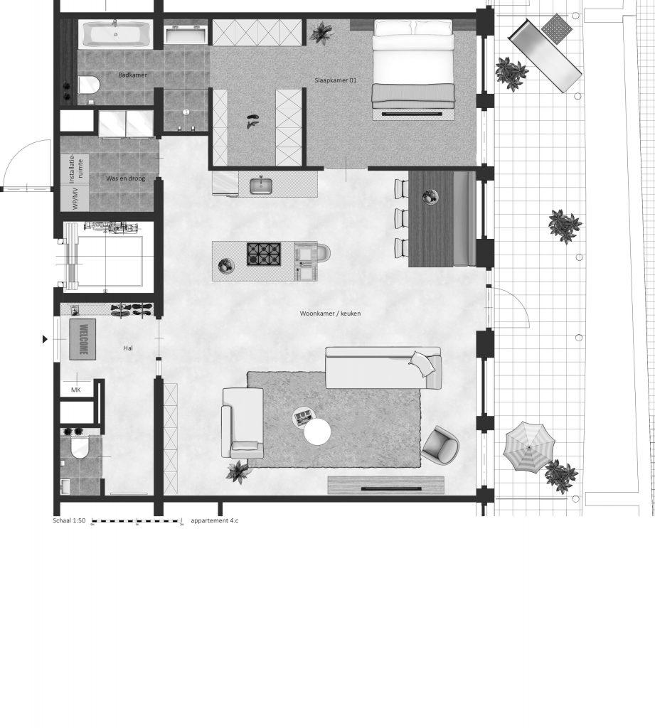 4C FABhouse Gouda plattegrond appartement 4c