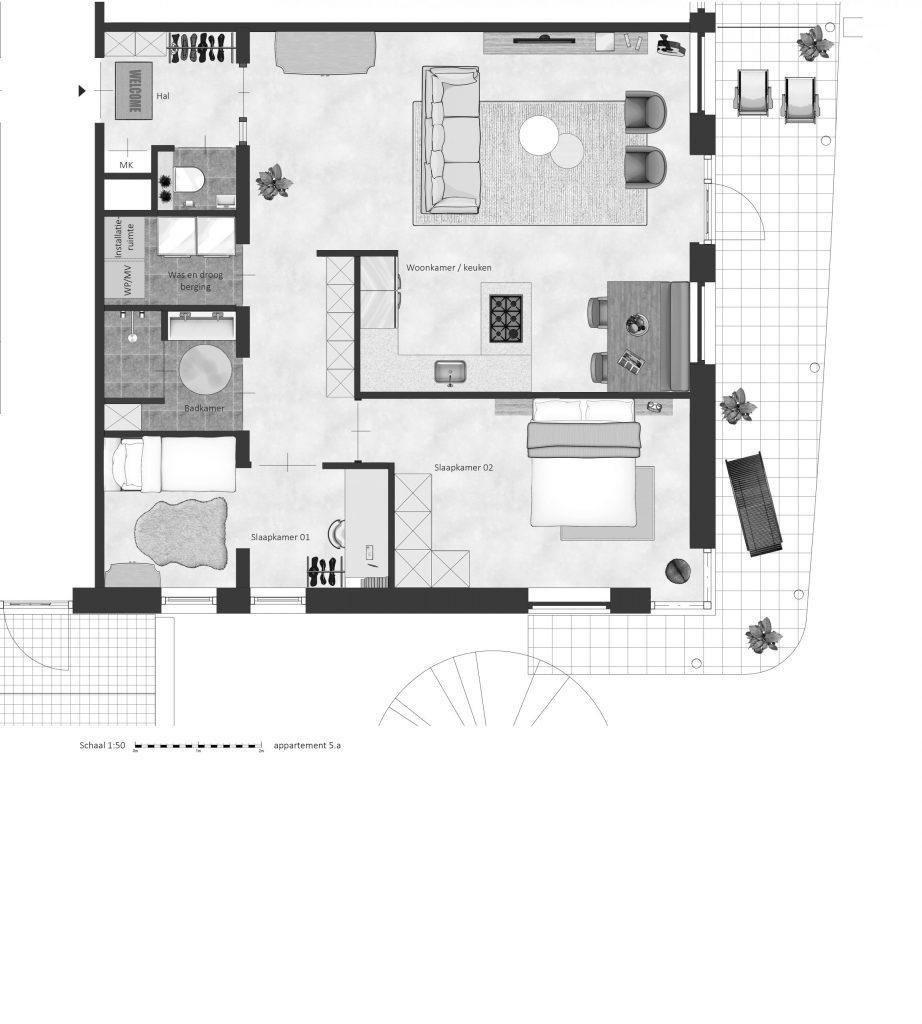 5A FABhouse Gouda plattegrond appartement 5a