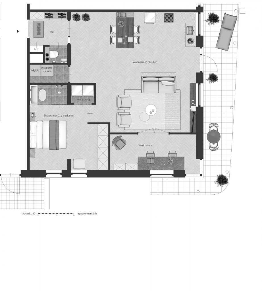 5B FABhouse Gouda plattegrond appartement 5b