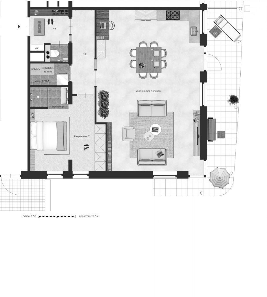 5C FABhouse Gouda plattegrond appartement 5c