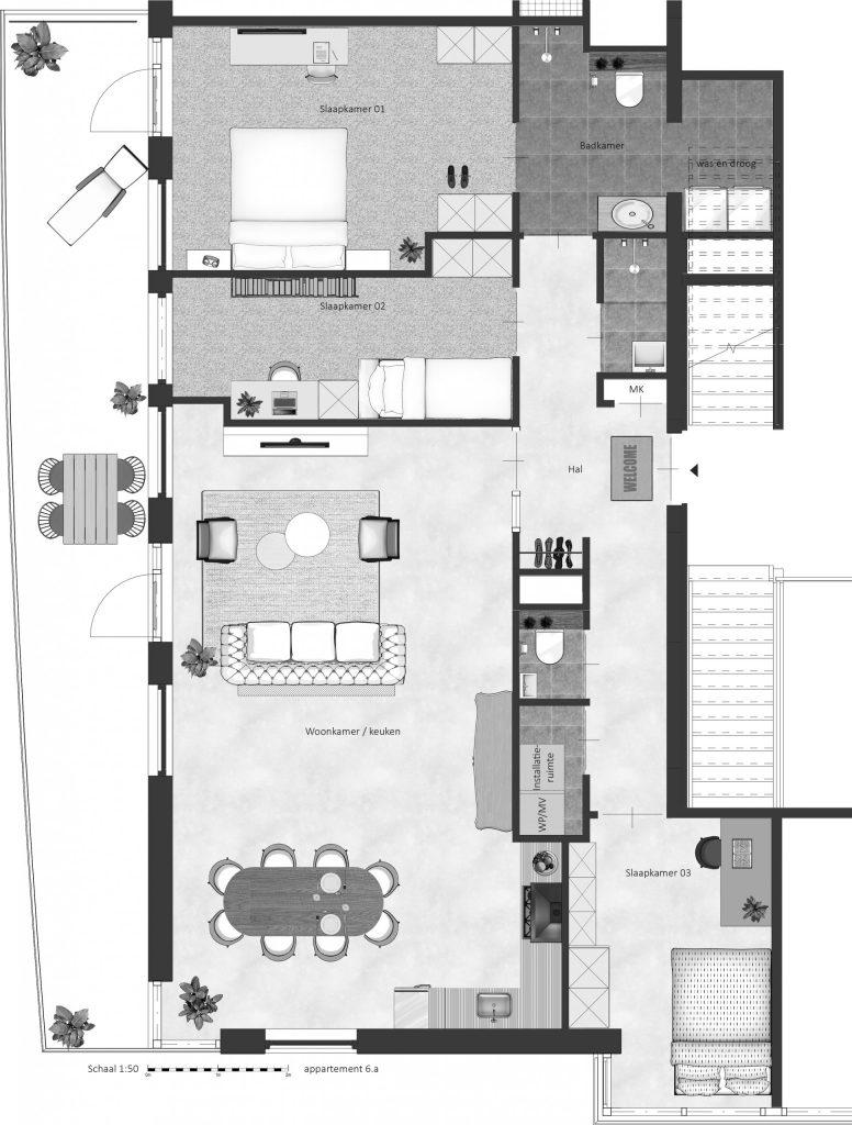 6A FABhouse Gouda plattegrond appartement 6a