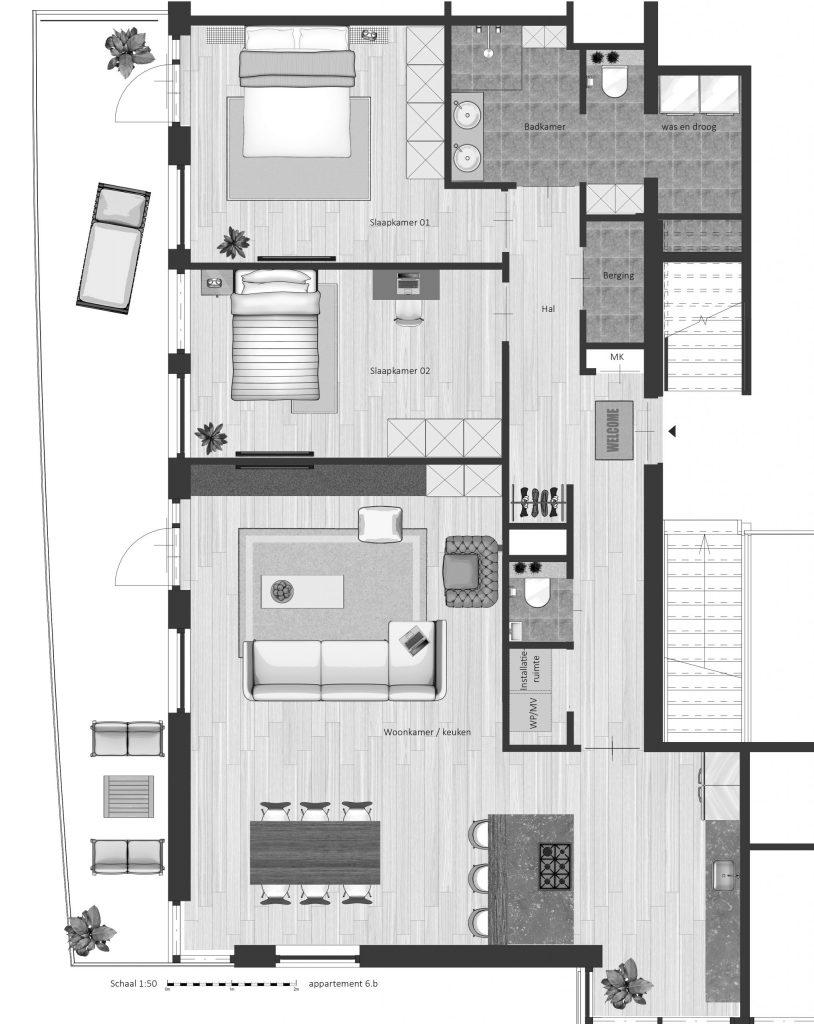 6B FABhouse Gouda plattegrond appartement 6b