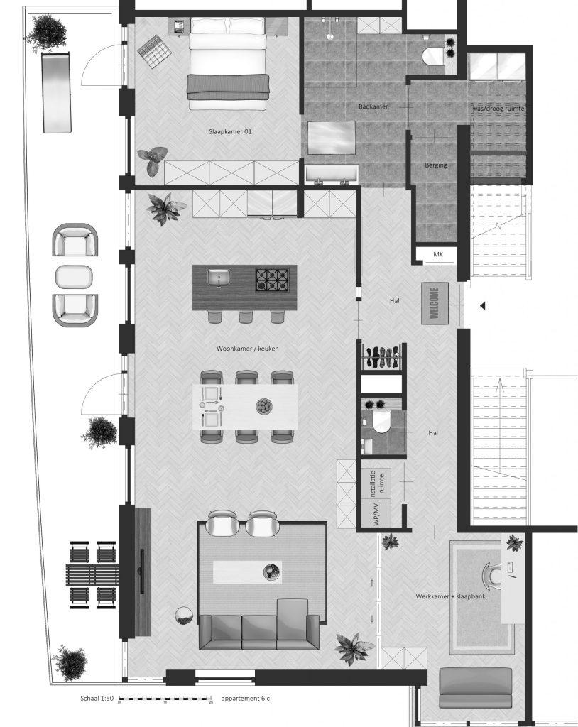 6C FABhouse Gouda plattegrond appartement 6c