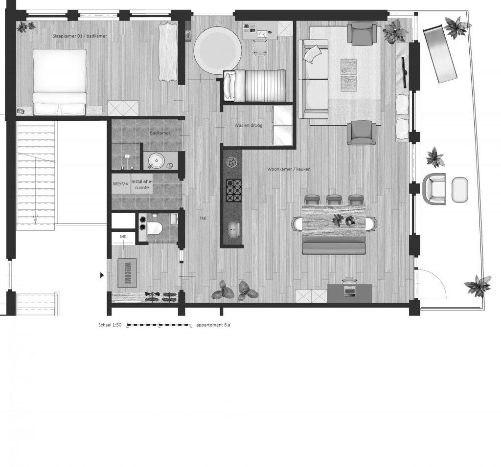 8A FABhouse Gouda plattegrond appartement 8a