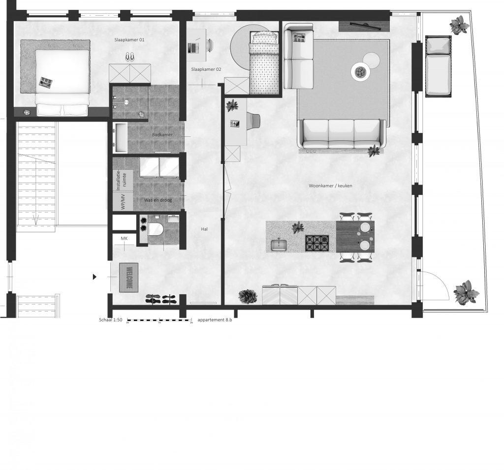 8B FABhouse Gouda plattegrond appartement 8b