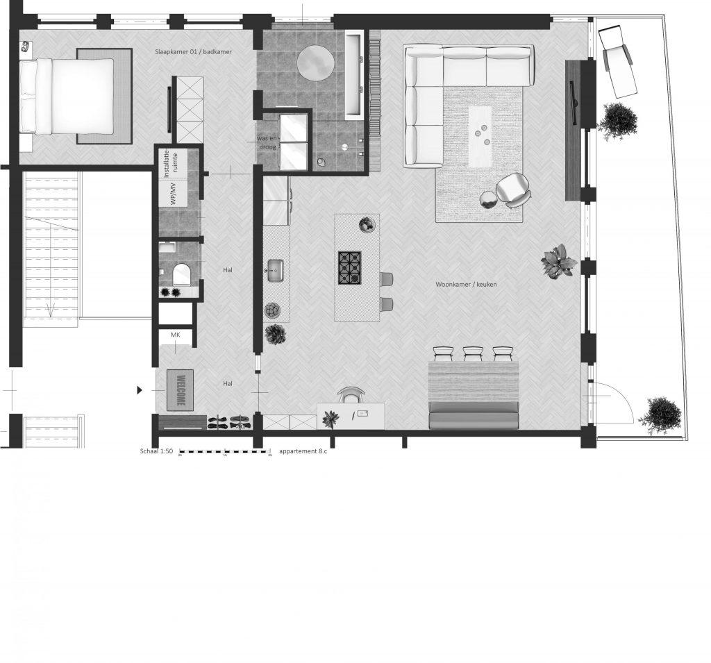 8C FABhouse Gouda plattegrond appartement 8c