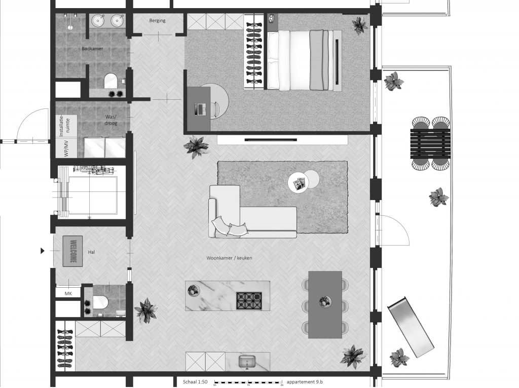 9B FABhouse Gouda plattegrond appartement 9b