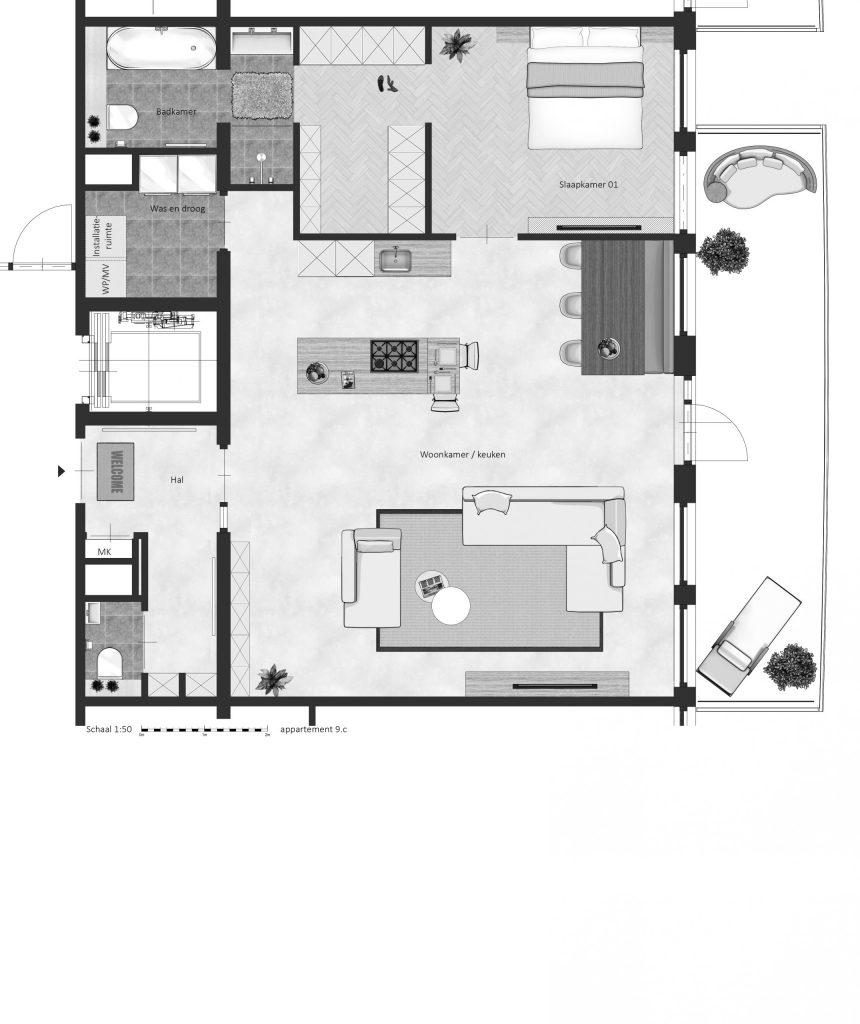 9C FABhouse Gouda plattegrond appartement 9c